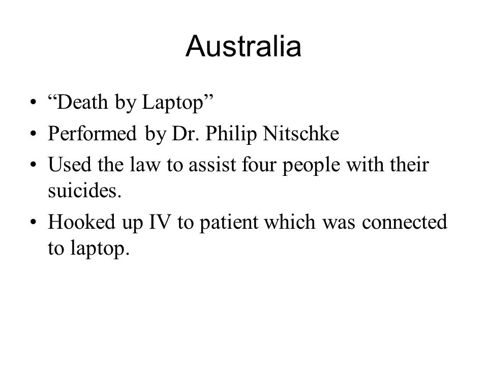 Australia Death by Laptop Performed by Dr. Philip Nitschke