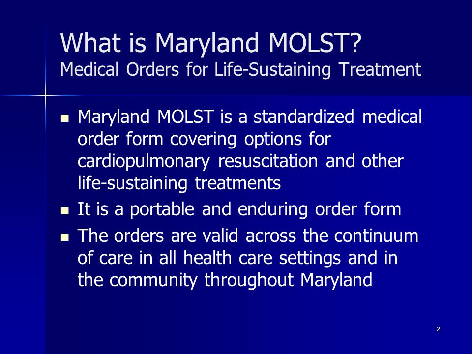What is Maryland MOLST Medical Orders for Life-Sustaining Treatment