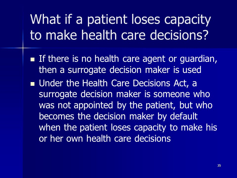What if a patient loses capacity to make health care decisions