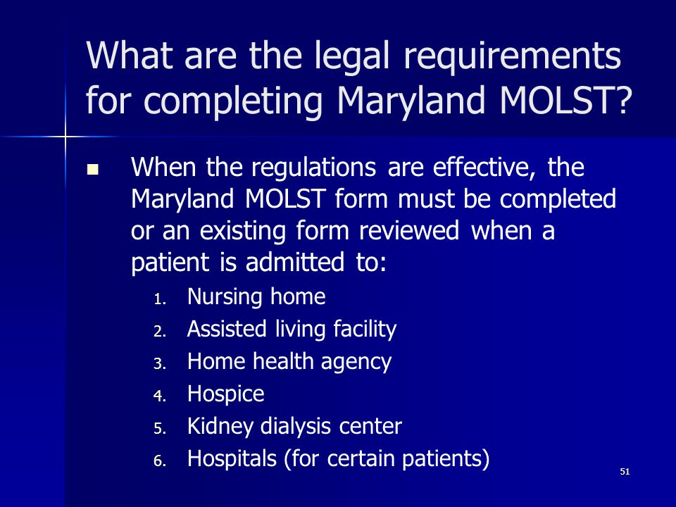 What are the legal requirements for completing Maryland MOLST