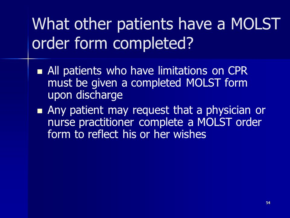 What other patients have a MOLST order form completed