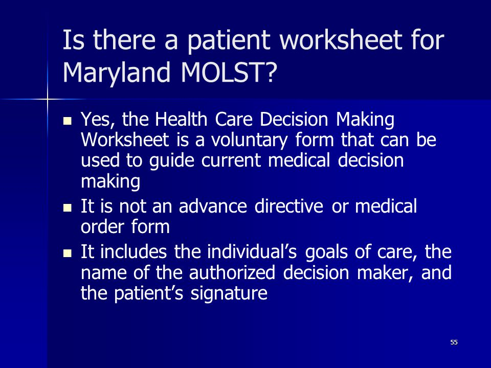 Is there a patient worksheet for Maryland MOLST