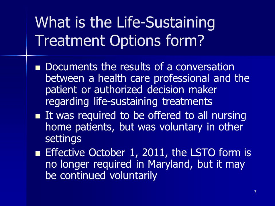 What is the Life-Sustaining Treatment Options form