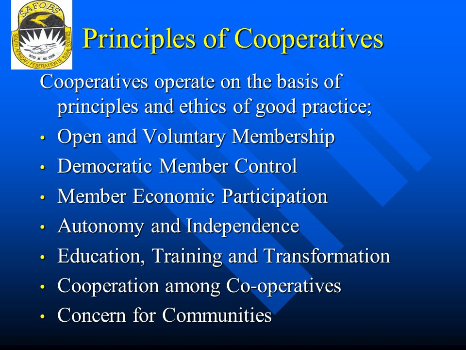 Principles of Cooperatives