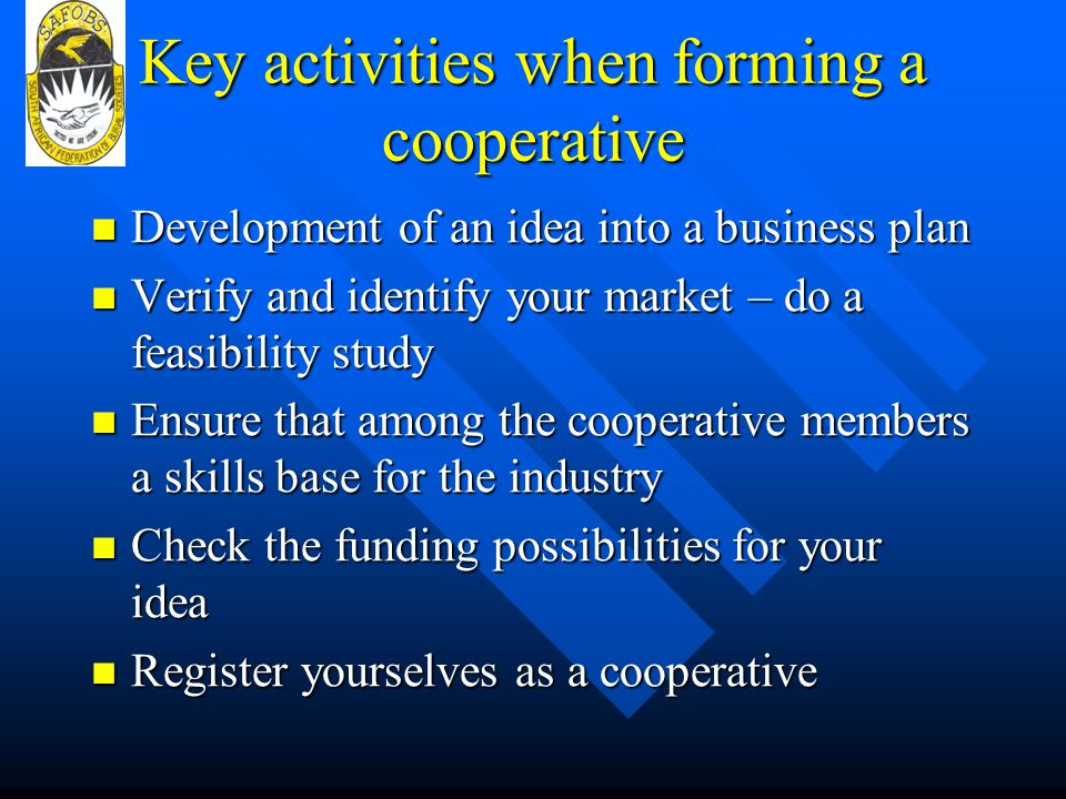 Key activities when forming a cooperative