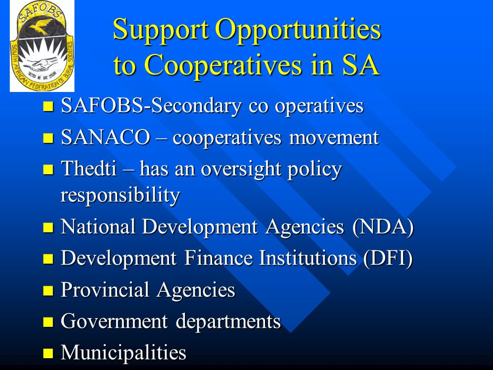 Support Opportunities to Cooperatives in SA