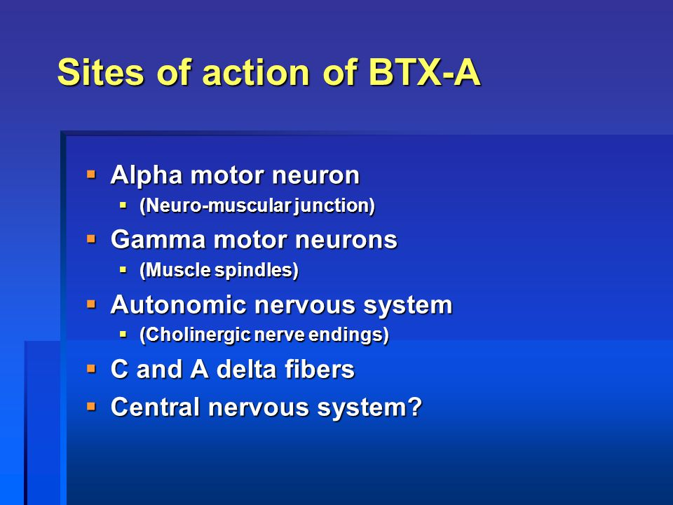 Sites of action of BTX-A