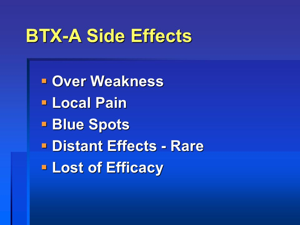 BTX-A Side Effects Over Weakness Local Pain Blue Spots