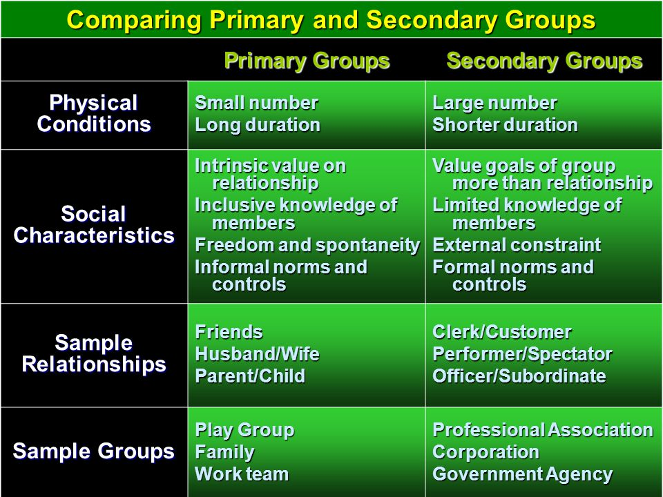 Comparing Primary and Secondary Groups Social Characteristics