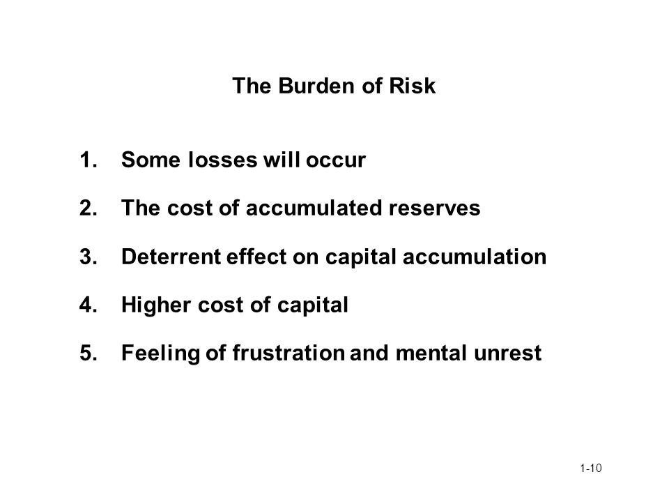 The Burden of Risk 1. Some losses will occur. 2. The cost of accumulated reserves. 3. Deterrent effect on capital accumulation.