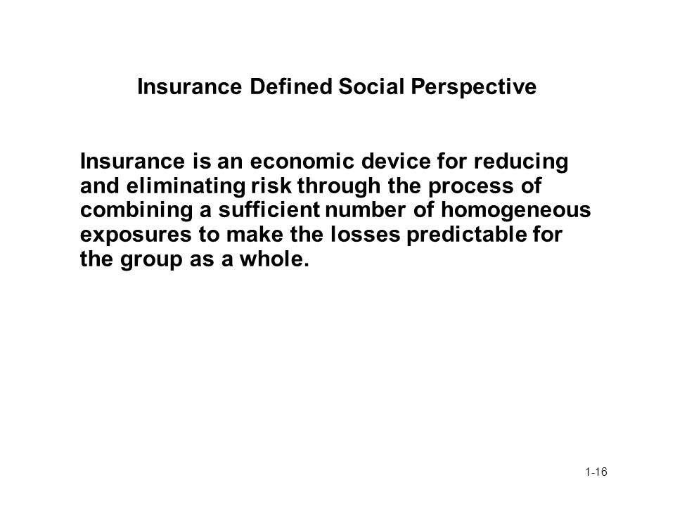 Insurance Defined Social Perspective