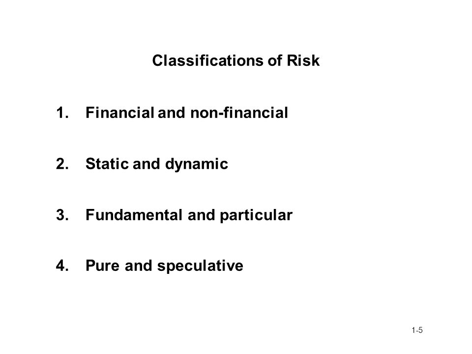 Classifications of Risk