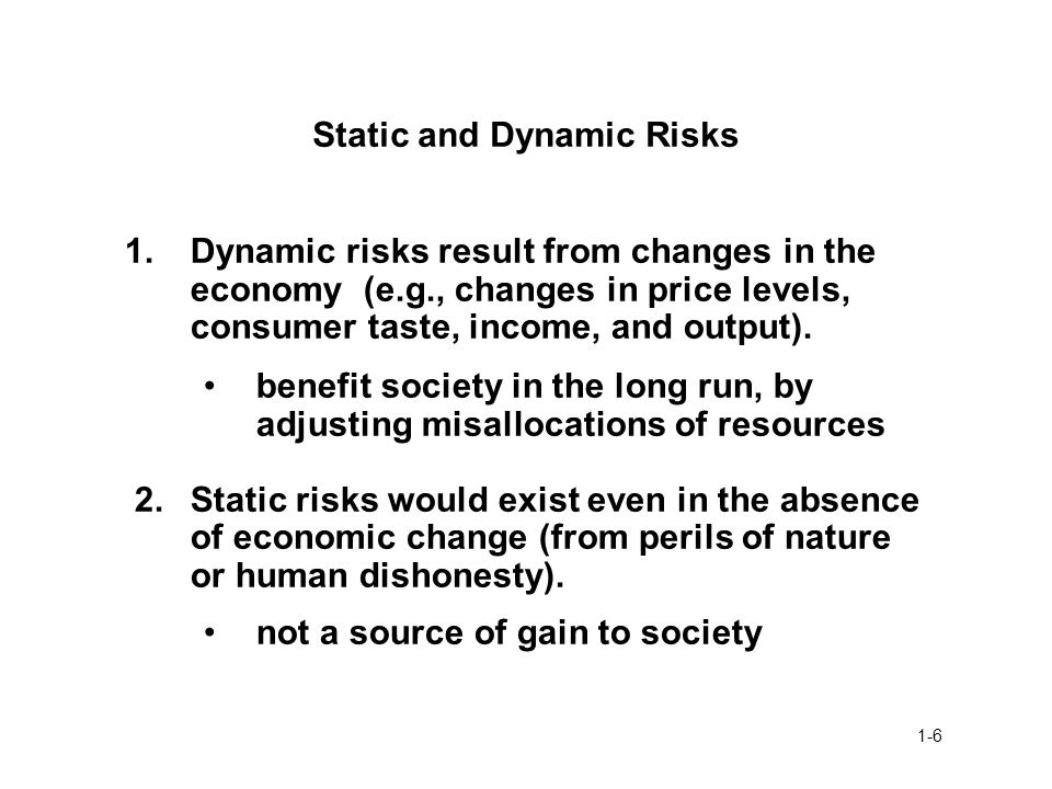 Static and Dynamic Risks