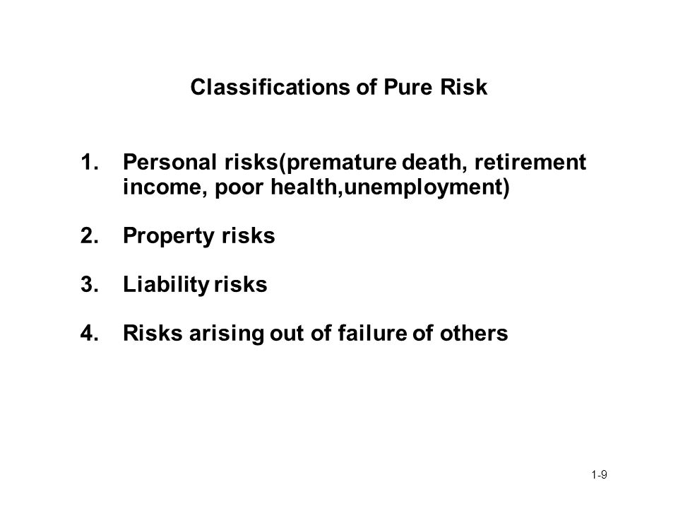 Classifications of Pure Risk