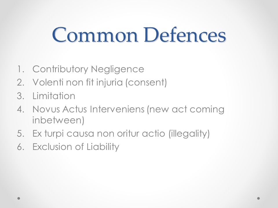 Common Defences Contributory Negligence