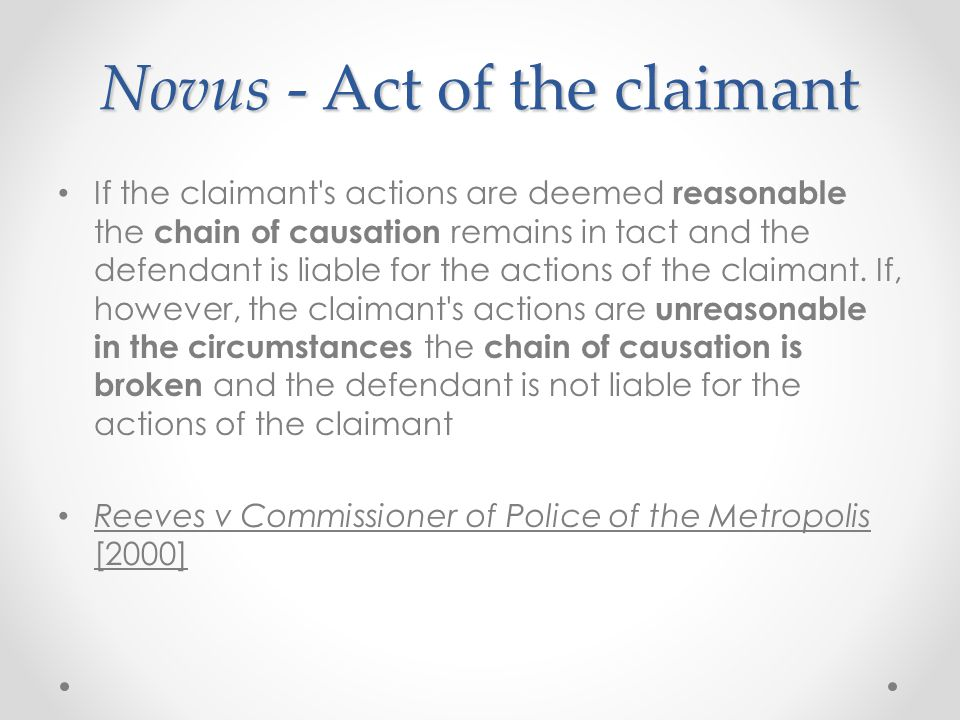 Novus - Act of the claimant