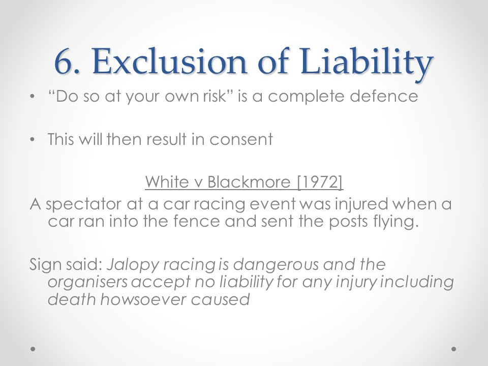 6. Exclusion of Liability