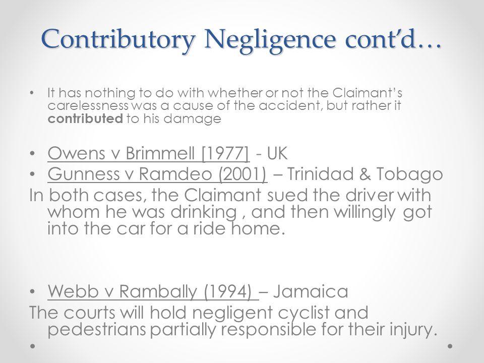 Contributory Negligence cont'd…