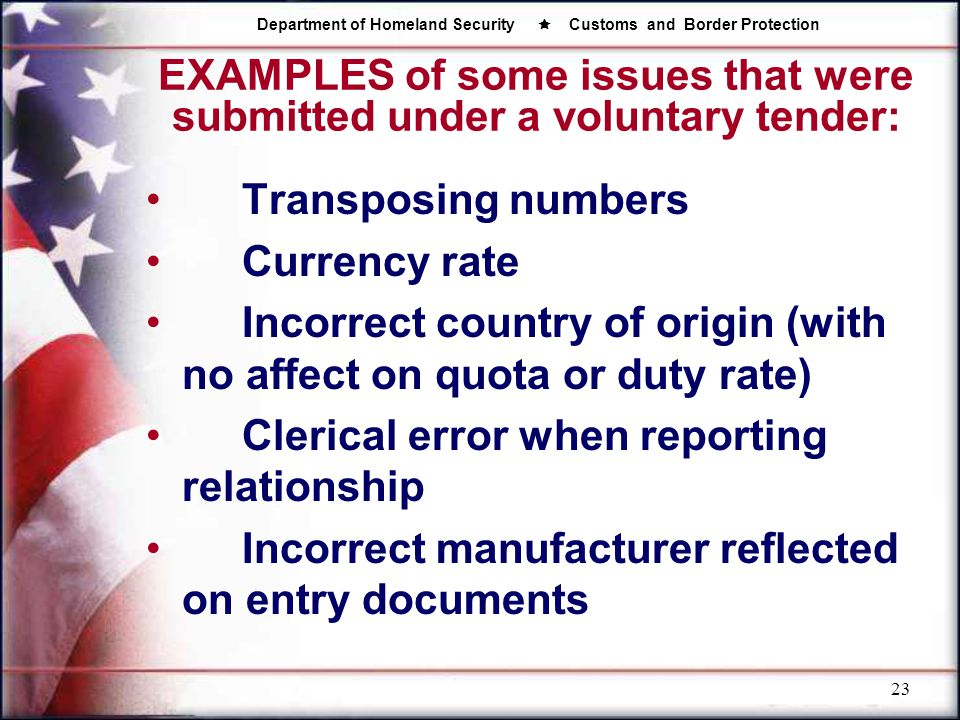 EXAMPLES of some issues that were submitted under a voluntary tender: