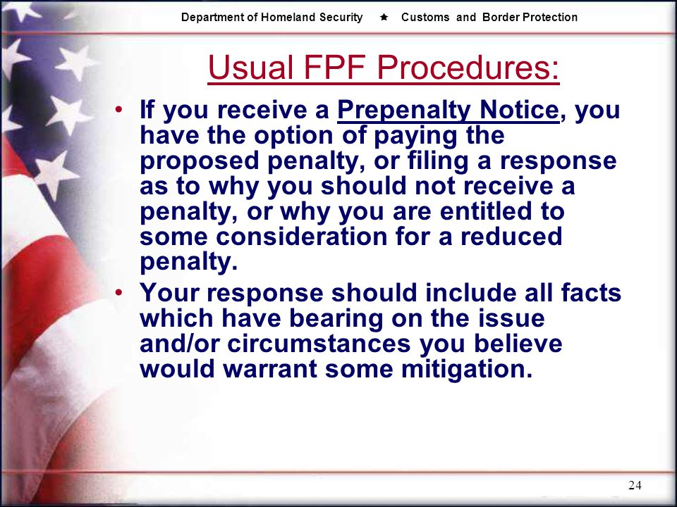 Usual FPF Procedures: