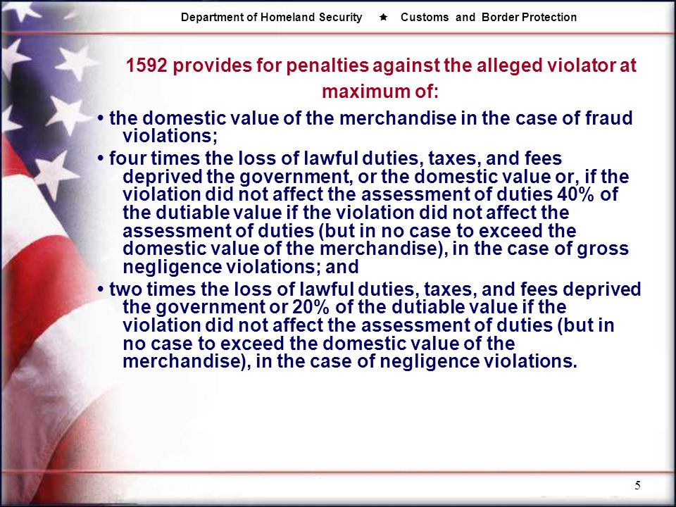 1592 provides for penalties against the alleged violator at maximum of: