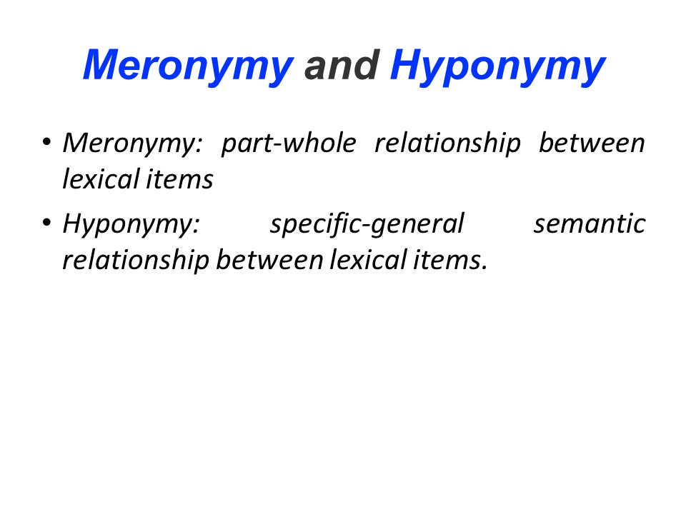 Meronymy and Hyponymy Meronymy: part-whole relationship between lexical items.