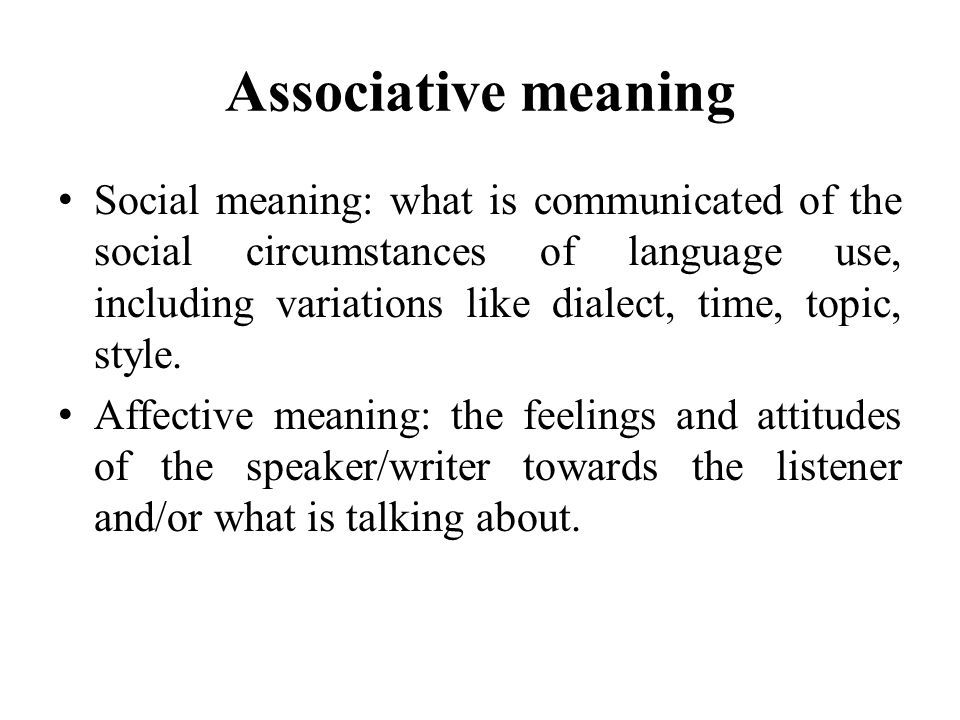 Associative meaning