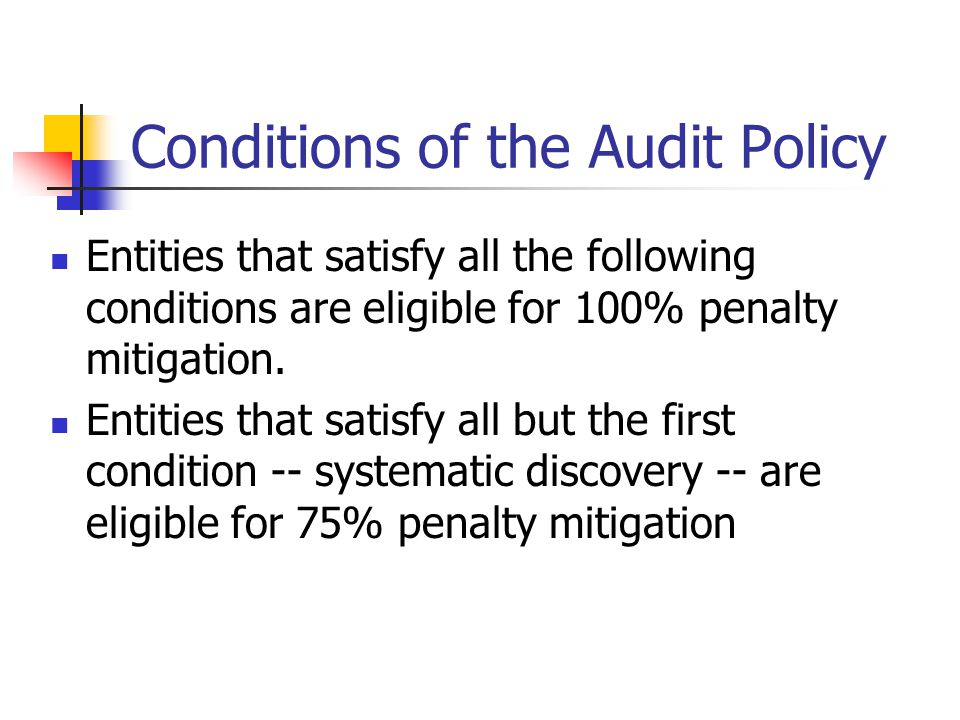 Conditions of the Audit Policy