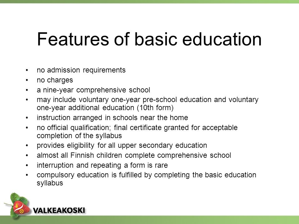 Features of basic education
