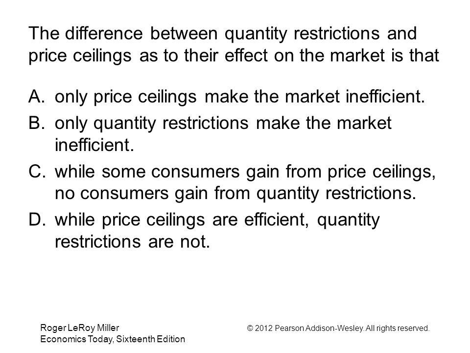 only price ceilings make the market inefficient.
