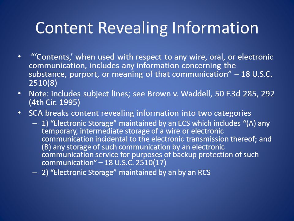 Content Revealing Information