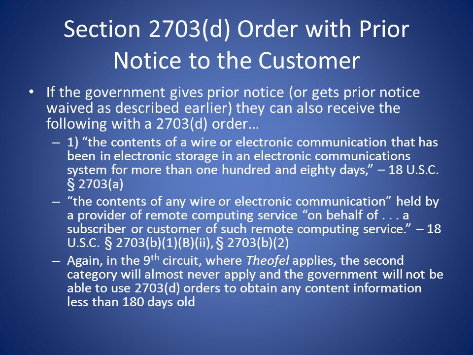 Section 2703(d) Order with Prior Notice to the Customer