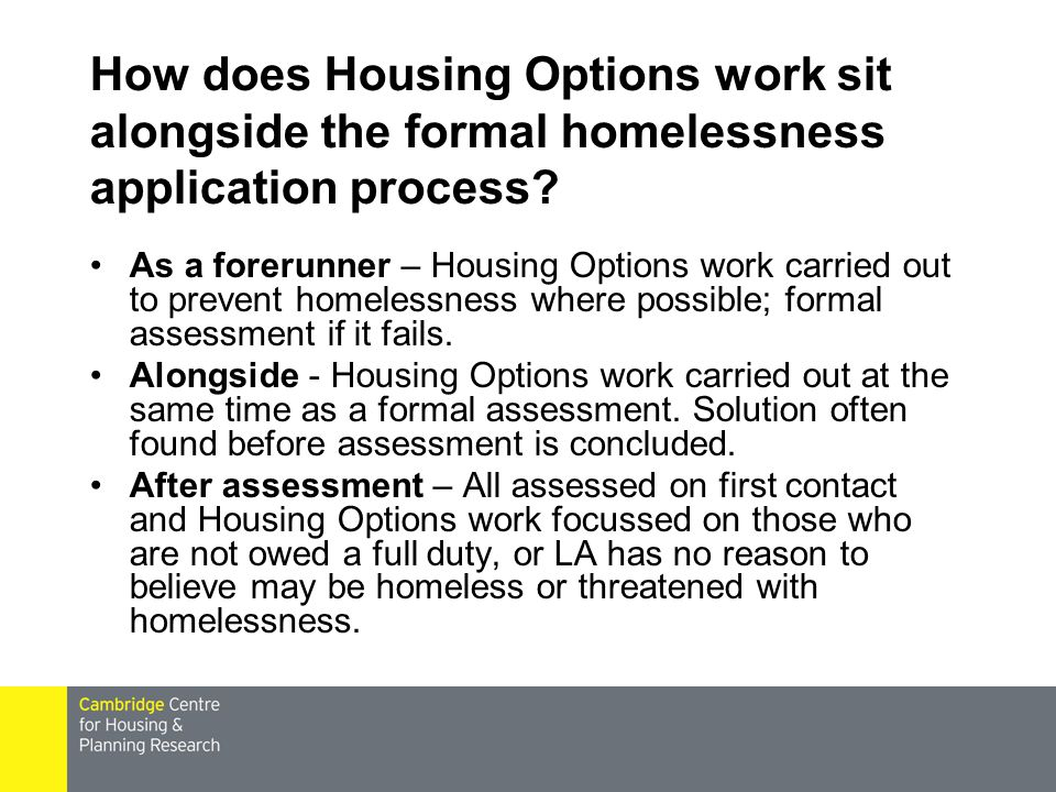 How does Housing Options work sit alongside the formal homelessness application process