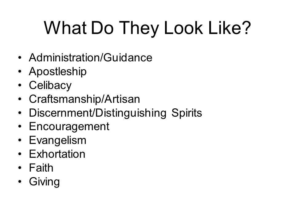 What Do They Look Like Administration/Guidance Apostleship Celibacy
