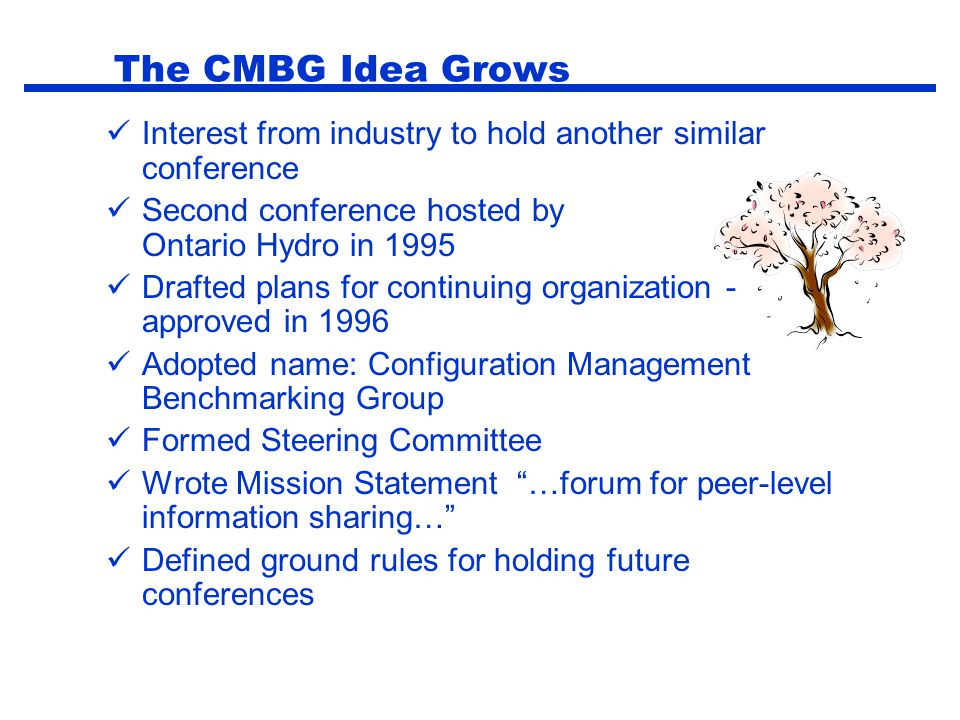 The CMBG Idea Grows Interest from industry to hold another similar conference. Second conference hosted by Ontario Hydro in 1995.