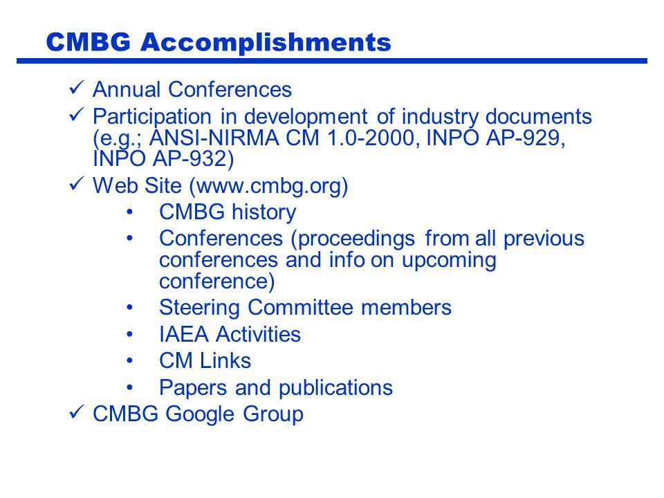 CMBG Accomplishments Annual Conferences