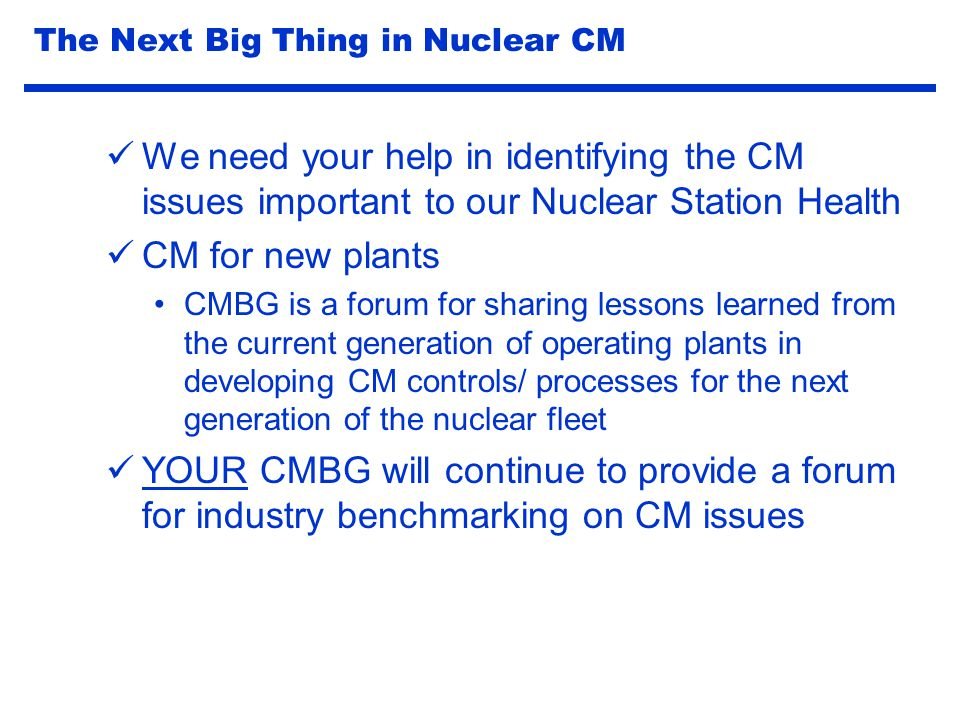 The Next Big Thing in Nuclear CM