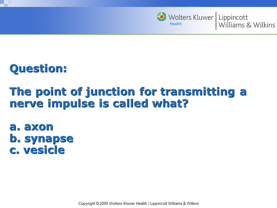 Question: The point of junction for transmitting a nerve impulse is called what.