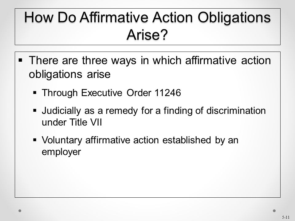 How Do Affirmative Action Obligations Arise