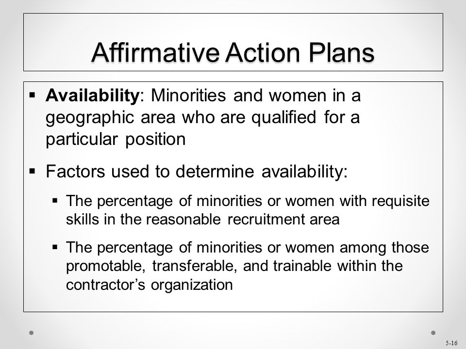 affirmative action for the blacks minorities and women Several different studies investigated the effect of affirmative action on women kurtulus (2012) in her review of affirmative action and the occupational advancement of minorities and women during 1973-2003 showed that the effect of affirmative action on advancing black, hispanic, and white women into management, professional, and.