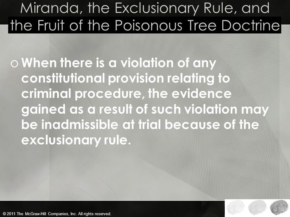 Miranda, the Exclusionary Rule, and the Fruit of the Poisonous Tree Doctrine