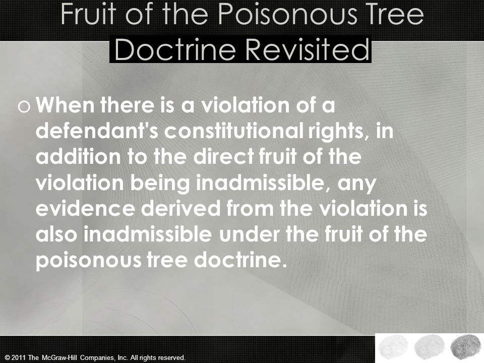 Fruit of the Poisonous Tree Doctrine Revisited