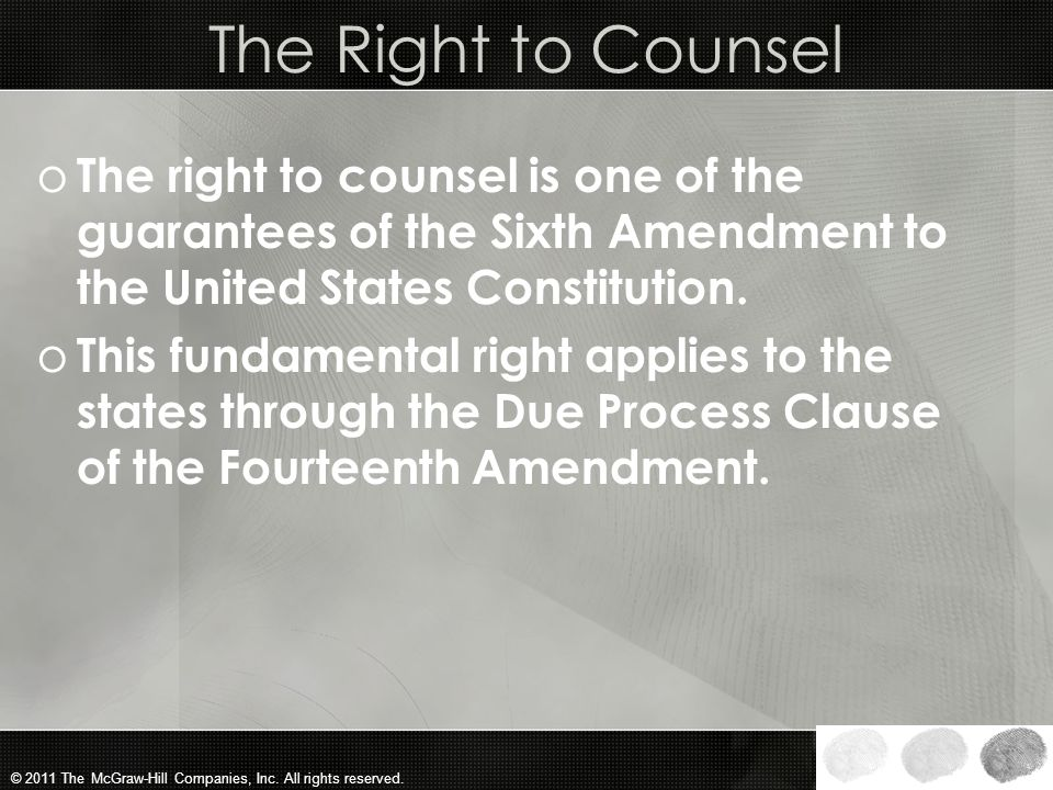The Right to Counsel The right to counsel is one of the guarantees of the Sixth Amendment to the United States Constitution.