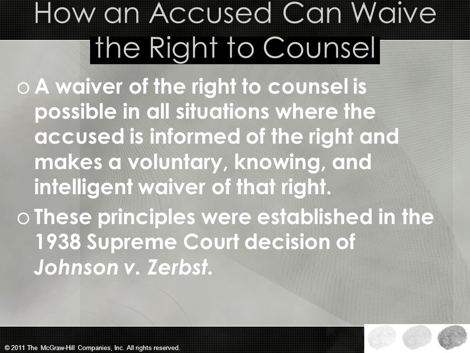 How an Accused Can Waive the Right to Counsel