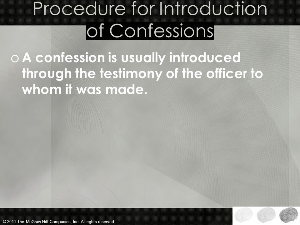 Procedure for Introduction of Confessions