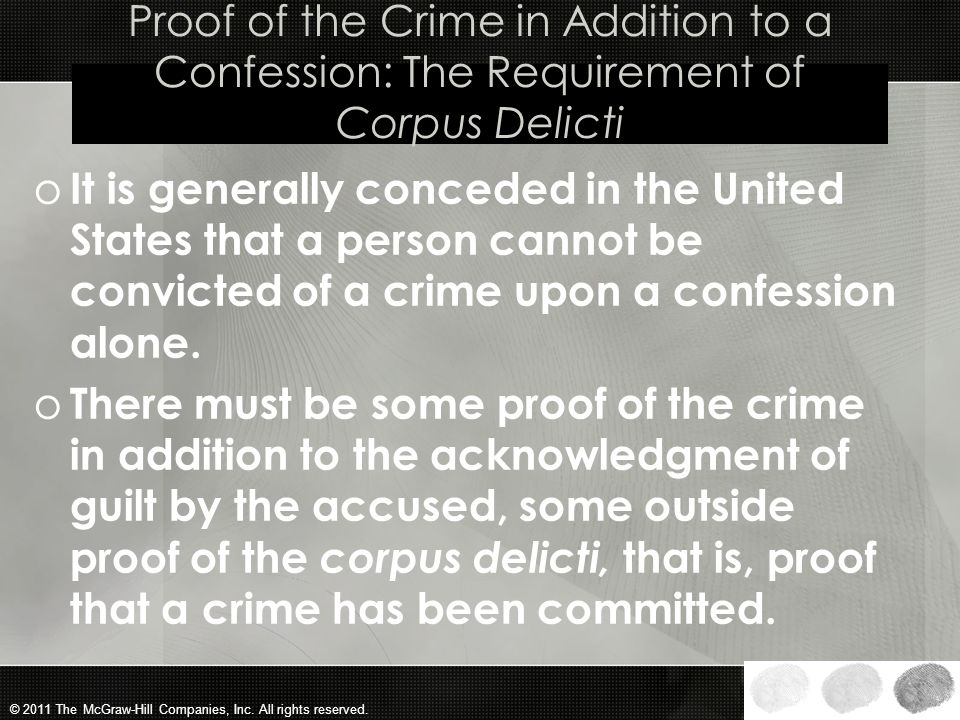 Proof of the Crime in Addition to a Confession: The Requirement of Corpus Delicti