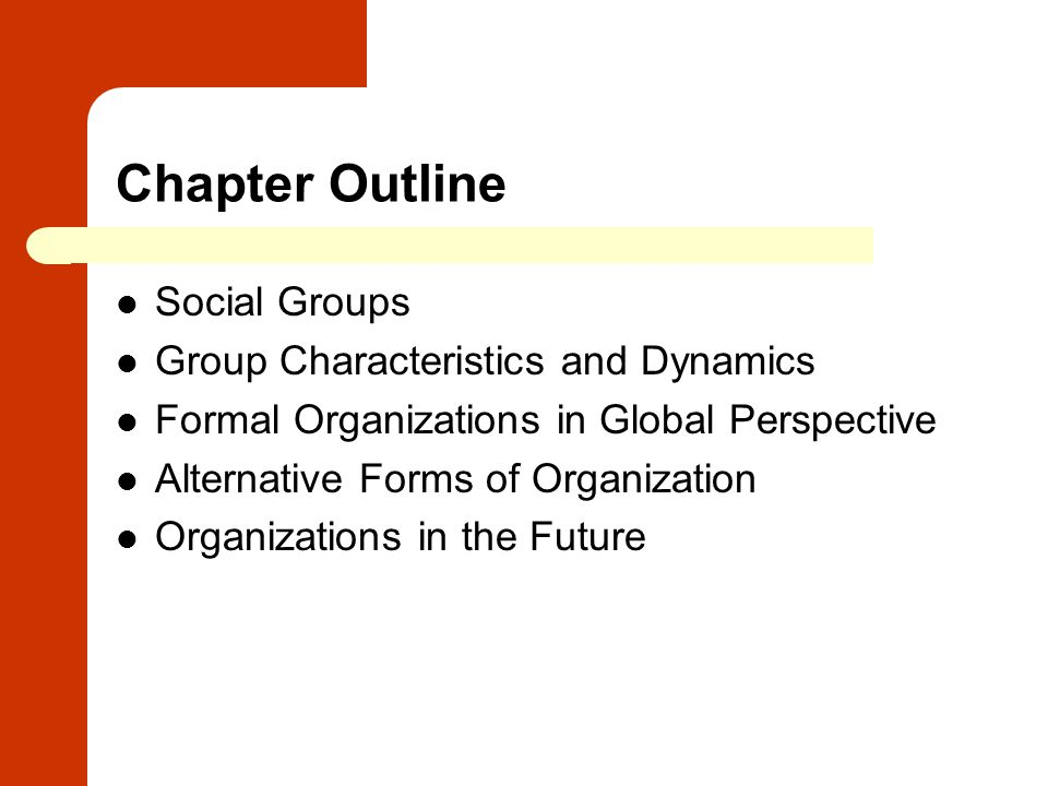 Chapter Outline Social Groups Group Characteristics and Dynamics