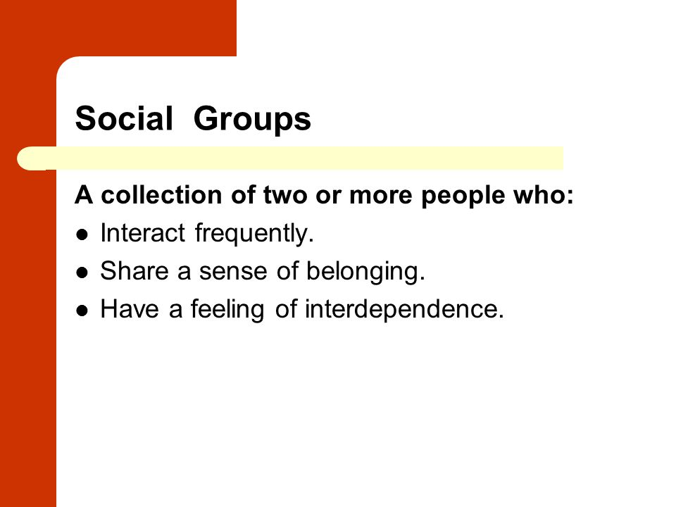 Social Groups A collection of two or more people who: