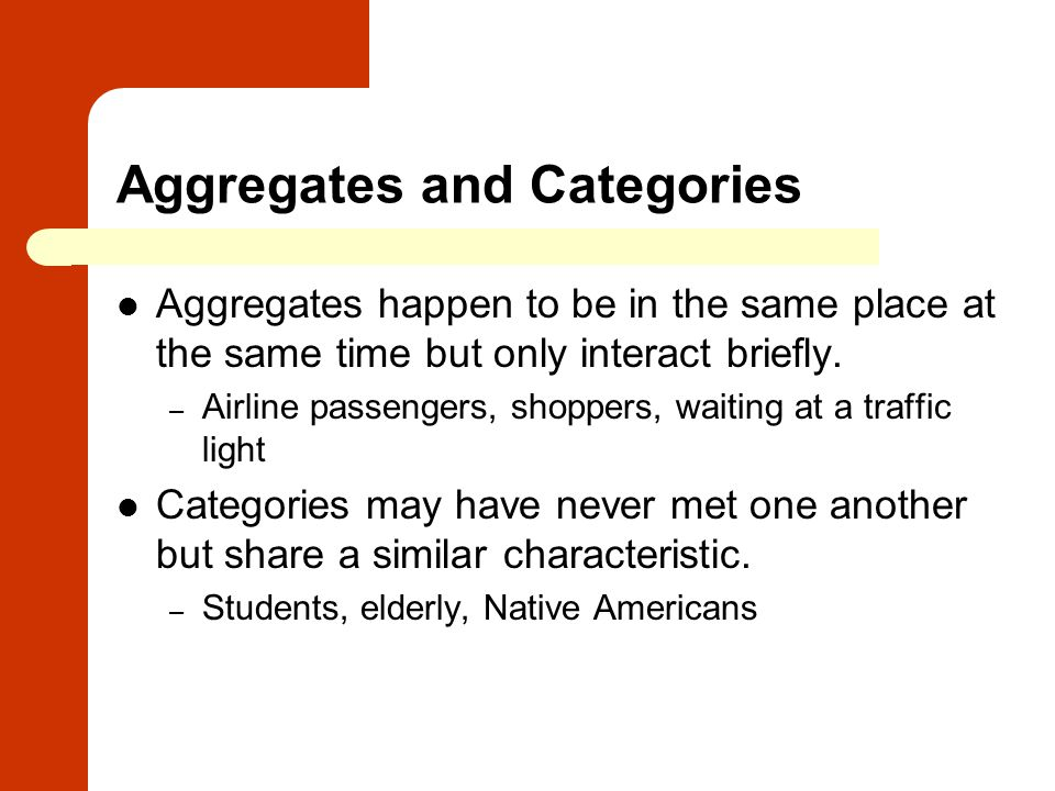 Aggregates and Categories
