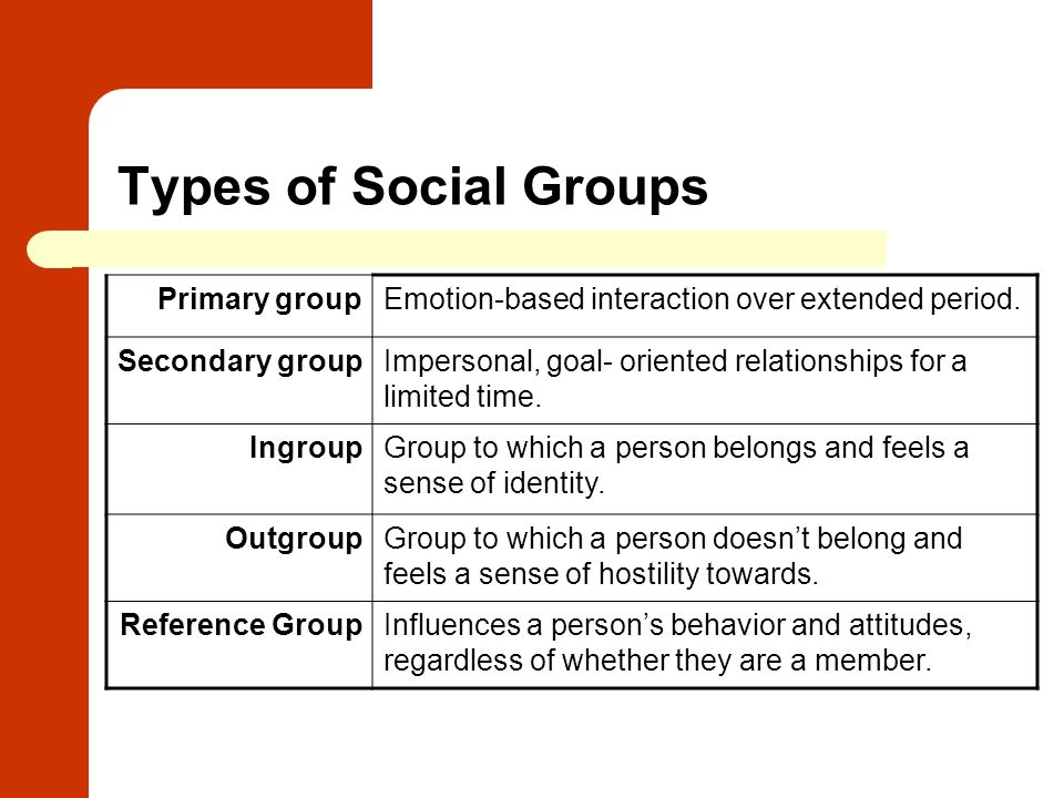 Types of Social Groups Primary group